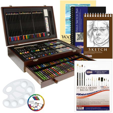 US Art Supply 162 Piece-Deluxe Mega Wood Box Art, Painting & Drawing Set contains all the supplies you need to start - Art Boxes