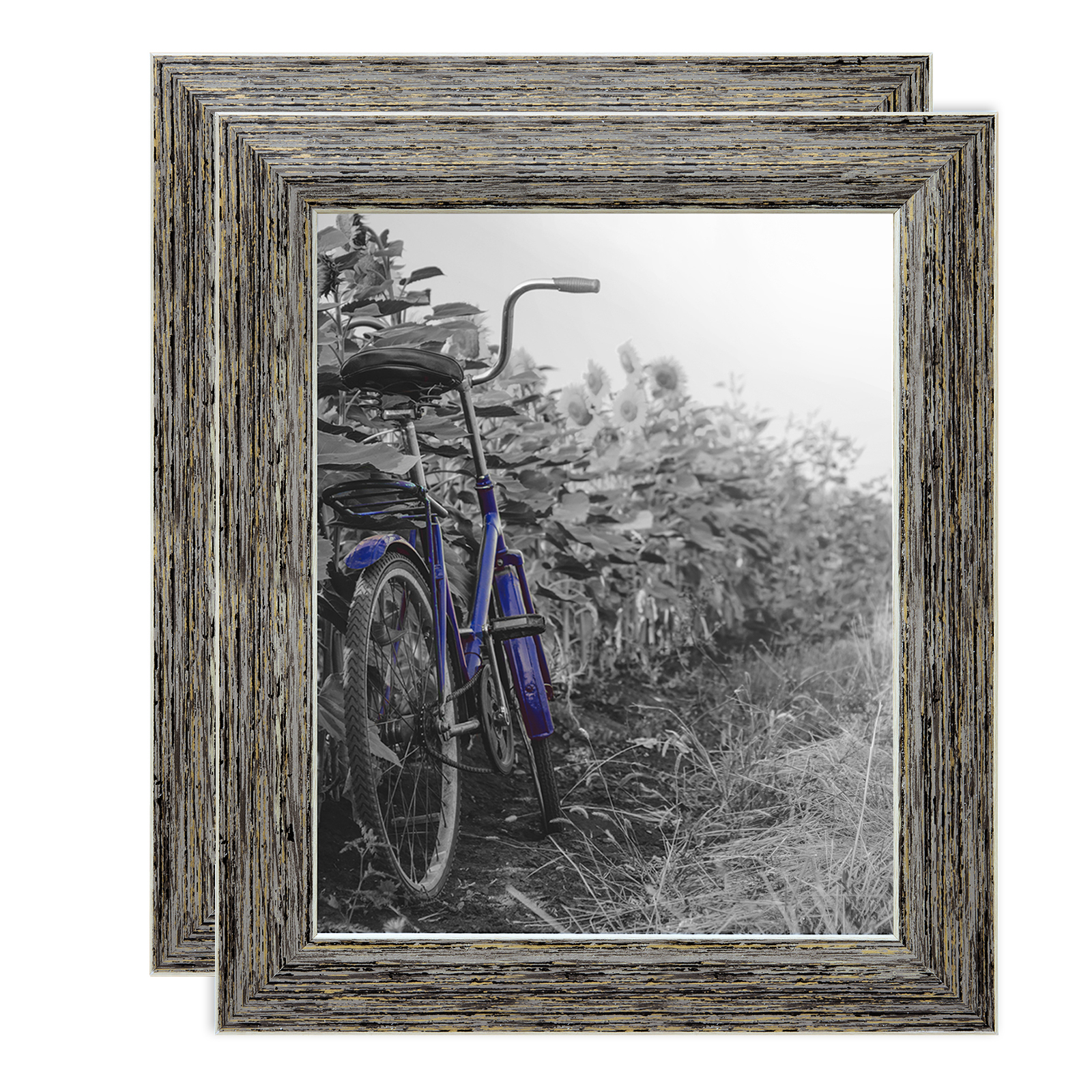 2-Pack - 8x10 Inch Tan Rustic Picture Frame with Easel