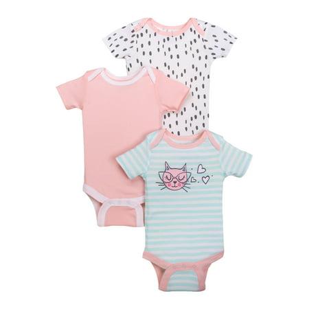 Newborn Baby Girl Assorted Short Sleeve Bodysuit, 3-pack (Newborn Onesie Halloween Costumes)