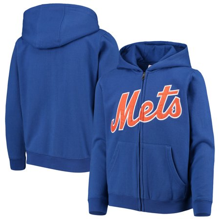new arrival e10d3 4d804 New York Mets Youth Team Color Wordmark Full-Zip Hoodie - Royal