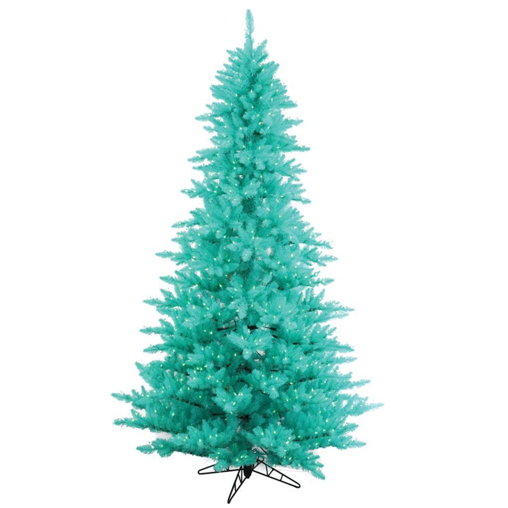 "Vickerman 431566 - 6.5' x 46"" Aqua Fir Tree with 600 Aqua LED Lights Christmas Tree (K160966LED)"