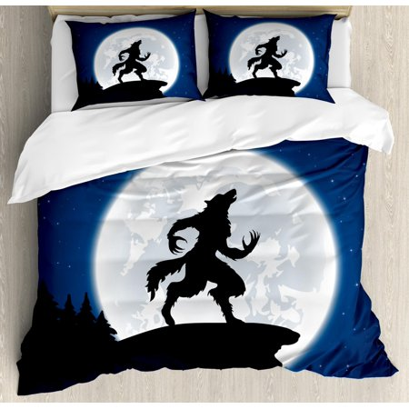 Wolf Duvet Cover Set, Full Moon Night Sky Growling Werewolf Mythical Creature in Woods Halloween, Decorative Bedding Set with Pillow Shams, Dark Blue Black White, by Ambesonne (Being Black And White For Halloween)