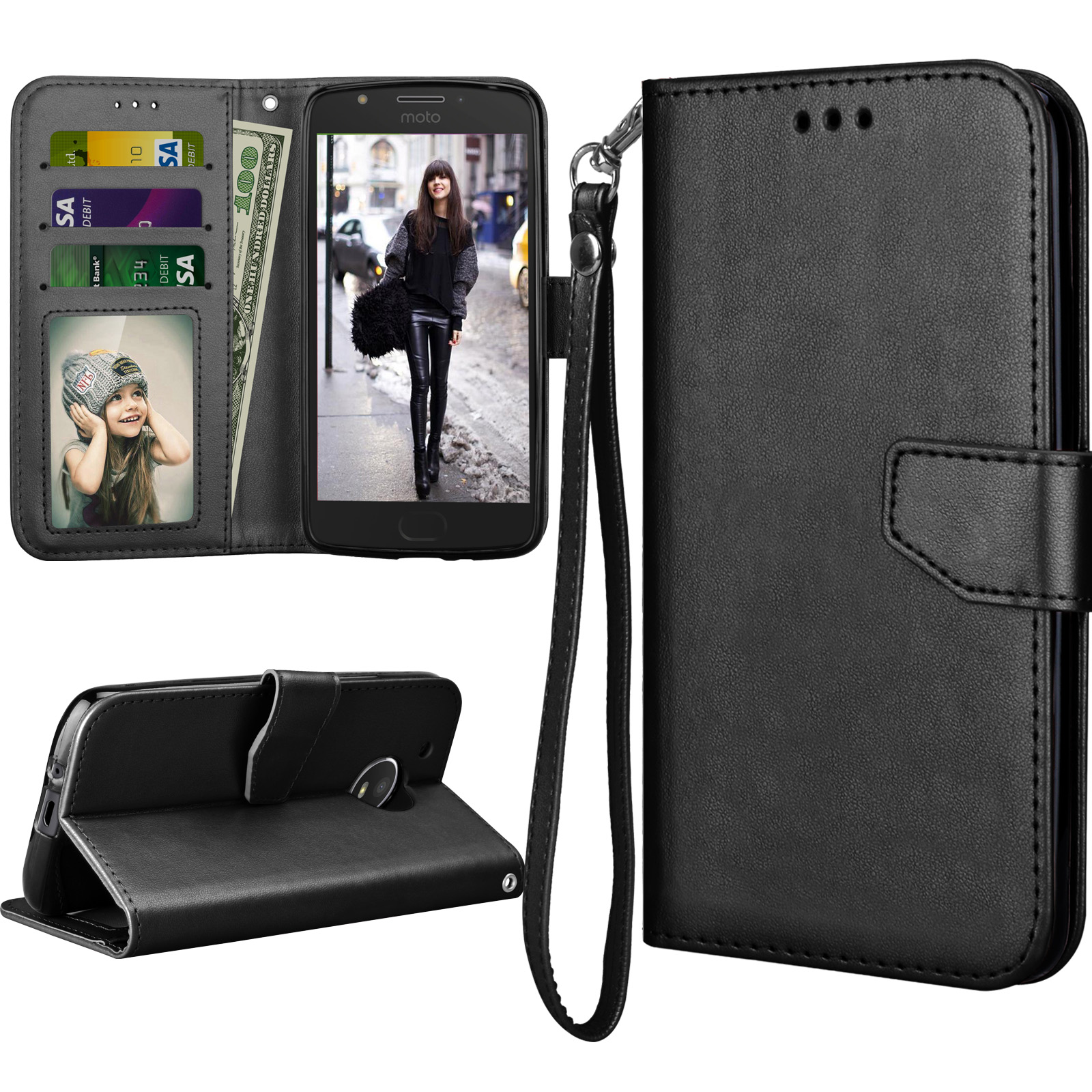 Moto E4 Case, 2017 Motorola Moto E 4th Generation Flip Cover, Tekcoo Luxury PU Leather [Coal Black] Wallet ID Cash Credit Card Slots Holder Clutch Protective Carrying Cases w/ Kickstand & Lanyard