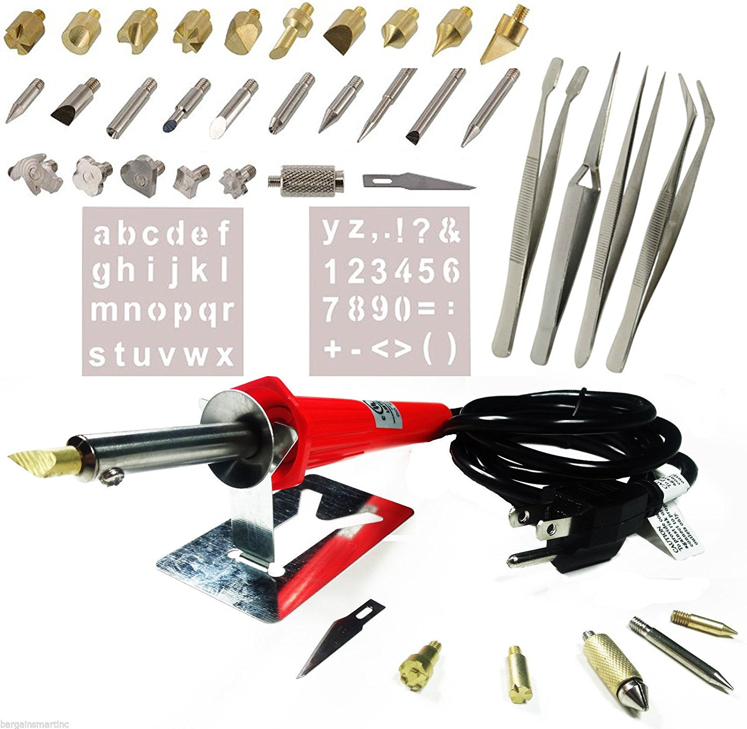 40PCS Wood Burning Pen Set Wood Burning Soldering Chiseled Tips and Tweezers
