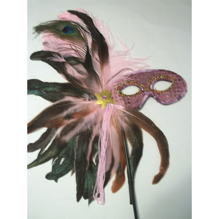 Light Pink Feather Masquerade Ball Decor Mardi Gras Party Stick - Masquerade Masks For Women