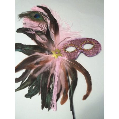 Light Pink Feather Masquerade Ball Decor Mardi Gras Party Stick Mask (Masquerade Masks On A Stick Wholesale)