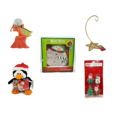 "Christmas Fun Gift Bundle [5 Piece] - Egyptian Pharaoh Angel Ornament - Gold Glitter Star Base Ornament Hanger - Cracker Barrel Serveware Snowman Bowl & Spreader -  Penguin  Gift Card Holder 6"" -  4"