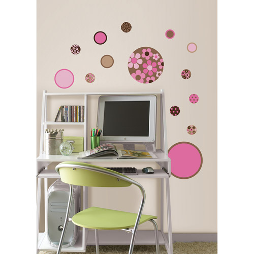 WallPops Gone Dotty MiniPops Wall Art Decals, Brown and Pink