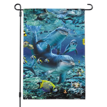 Image of Coral Reef Diving Dolphin Pals Diving Garden Yard Flag