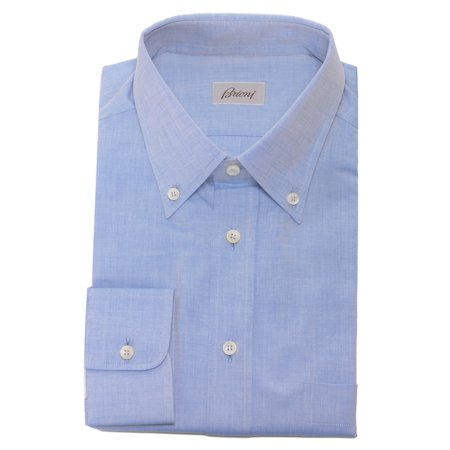 - Brioni Mens Cotton Oxford Shirt SC010M P3086 8102 Light Blue