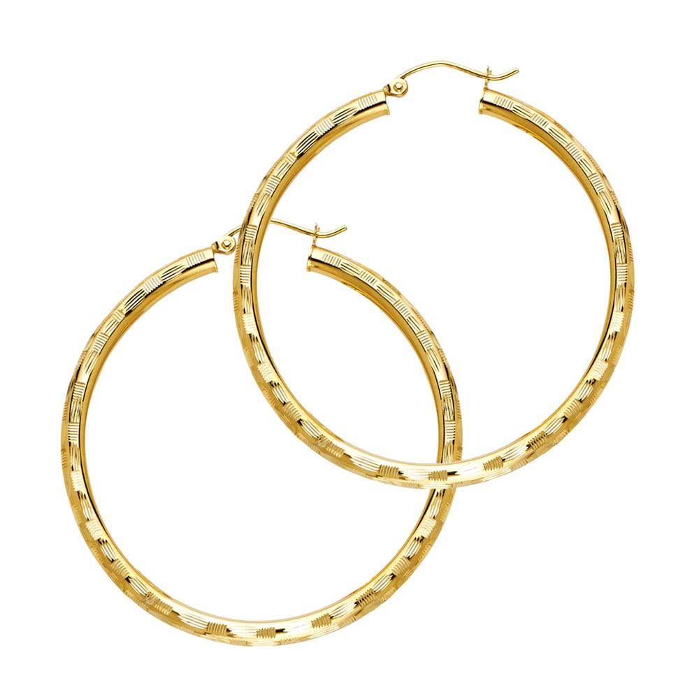Mia Diamonds 14k Yellow Gold 3mm Light Tube Hoop Earrings