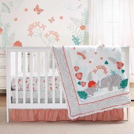 Safari Love 4 Piece Baby Girl Elephant Garden Crib Bedding
