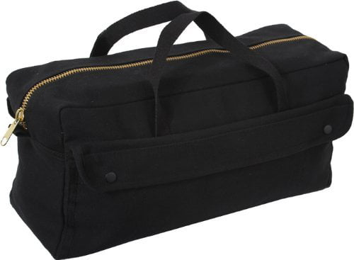 Rothco Canvas Jumbo Tool Bag with Brass Zipper, Black by Pro-Motion Distributing - Direct