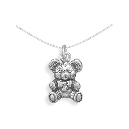 Antique Teddy Bear Necklace 3D Sterling Silver, 13+1-inch Chain