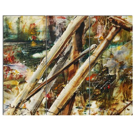 - Design Art Tools and Abstract Pattern' 3 Piece Painting Print on Metal Set