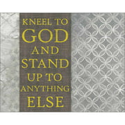 Kneel To God Abstract Pattern Painting Religious Typography Grey & Yellow Canvas Art by Pied Piper Creative