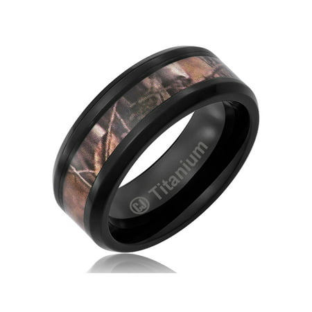 Mens Wedding Band in Titanium 8MM Camo Ring Black Plated Camouflage Inlay