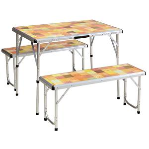 COLEMAN Pack-Away Portable Camping 4 Person Mosaic Picnic Table Set ...