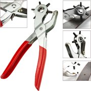 """CABLEVANTAGE 6 Sized 9"""" Heavy Duty Leather Hole Punch Hand Plier Belt Holes Revolving Punches"""
