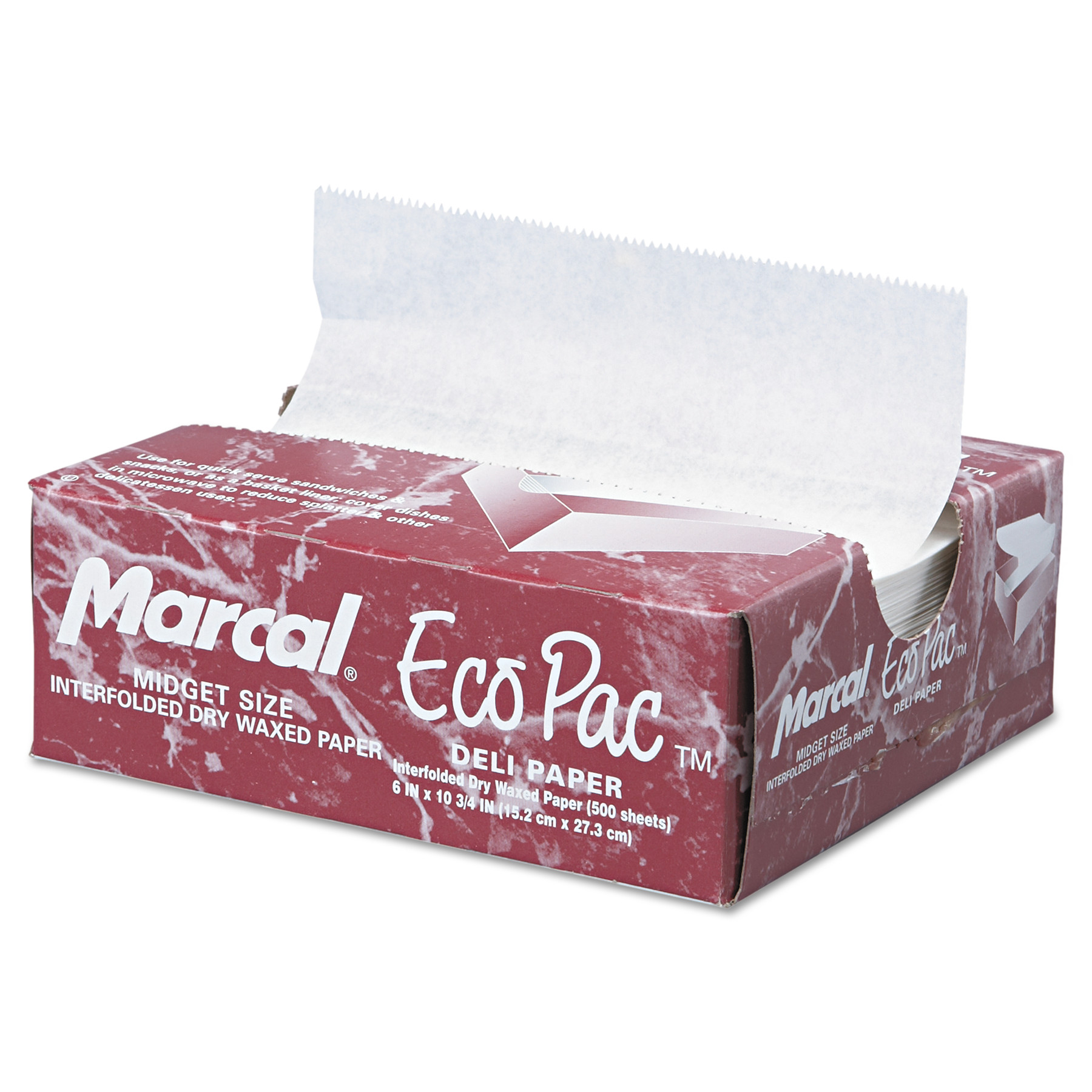 Marcal Eco-Pac Interfolded Dry Wax Paper, White, 500 count, (Pack of 12)