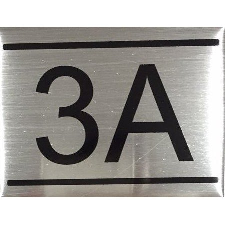 APARTMENT NUMBER SIGN -3A -BRUSHED ALUMINUM (2.25X3 ...