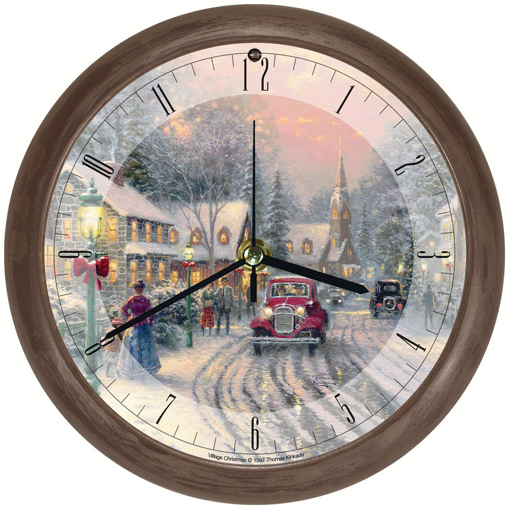 Thomas Kinkade Christmas Village Musical Wall Clock - Hourly Seasonal Songs