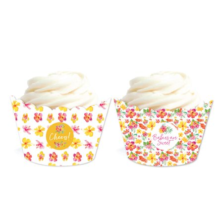 Tropical Floral Garden Party Baby, Cupcake Wrappers, 20-Pack - Tropical Cupcakes