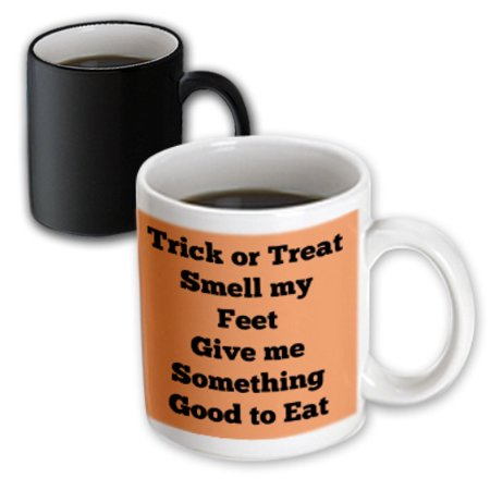 3dRose Trick or treat smell my feet give me something good to eat orange black, Magic Transforming Mug, 11oz