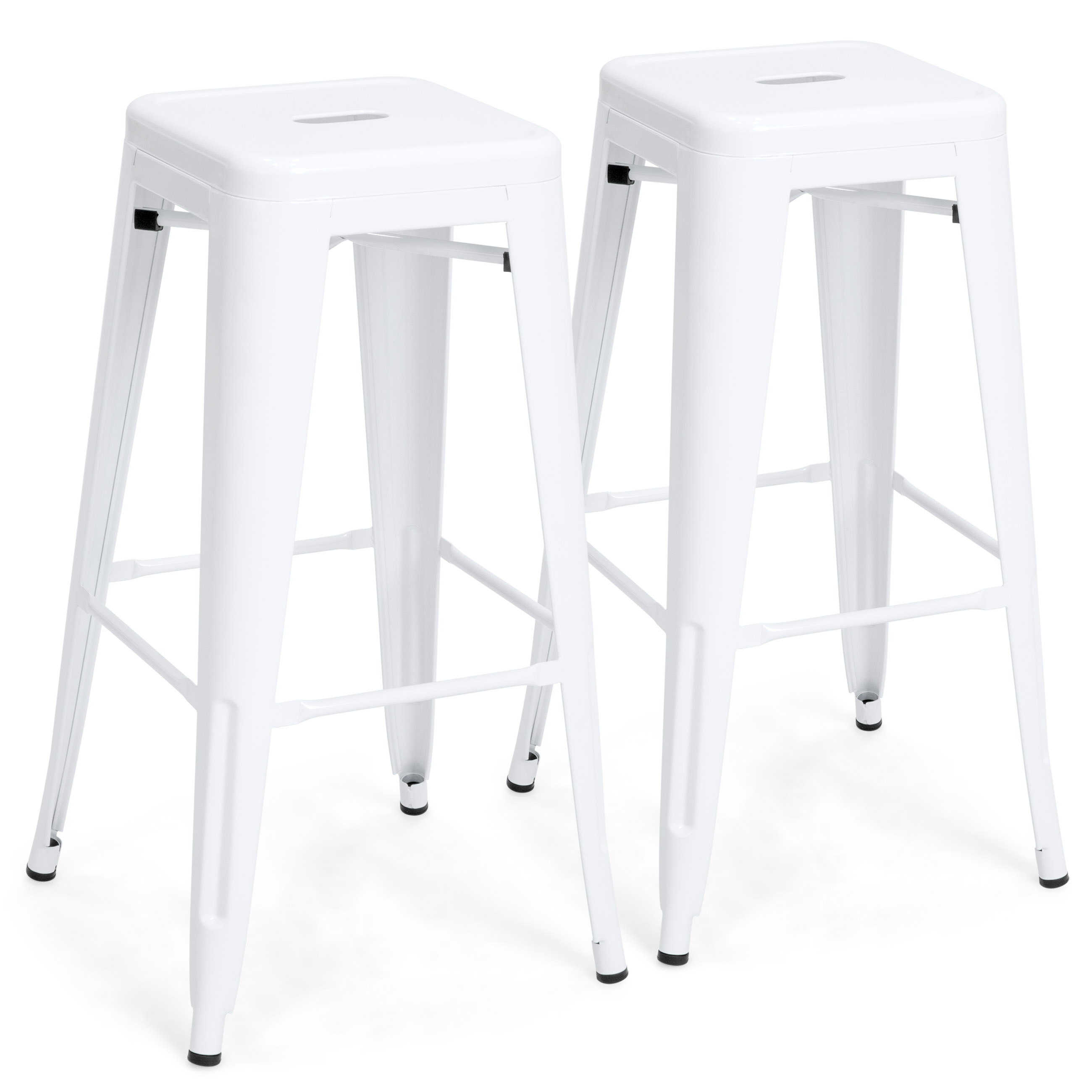 Best Choice Products 30in Set of 2 Modern Industrial Backless Metal Bar Stools - White