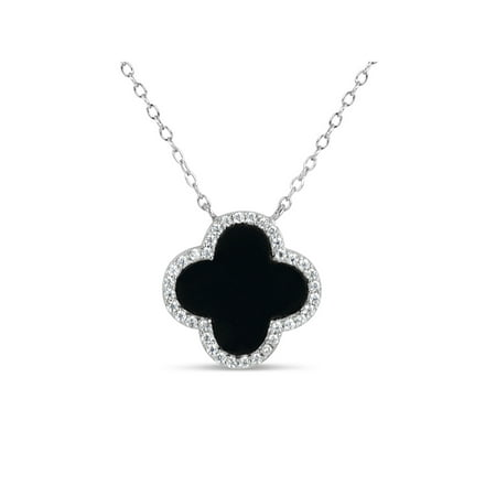 10mm Black Onyx and White Cubic Zirconia Sterling Silver Rhodium Plated Clover Necklace, - Black Onyx Silver Necklace