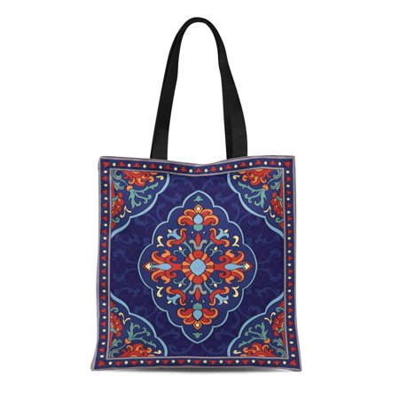 HATIART Canvas Tote Bag Oriental Abstract Blue Shawl and Any Ornamental Colorful Pattern Durable Reusable Shopping Shoulder Grocery Bag - image 1 of 1