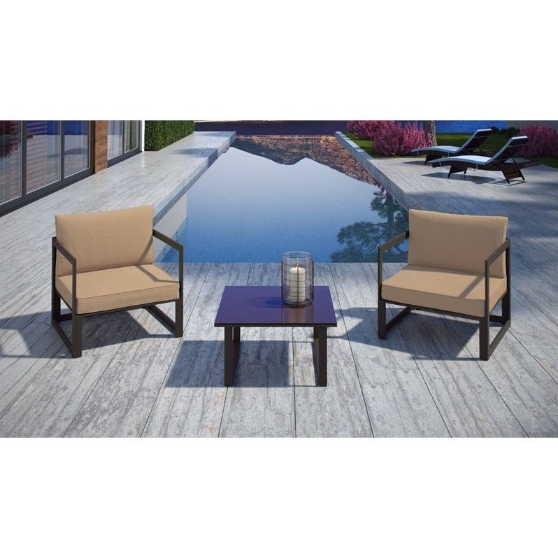 Fortuna 3 Piece Outdoor Patio Sectional Sofa Set-Color:Brown Mocha