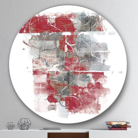 DESIGN ART Designart 'Moving In and Out of Traffic I Red Grey' Geometric Metal Circle Wall Art
