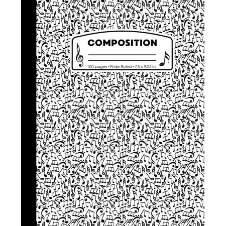 Composition: Music Notes White and Black Composition Notebook for Boys or Girls. Musical Musician Wide Ruled Book 7.5 x 9.25 in, 100 pages, journal for kids, elementary school students and - Black And White Musical