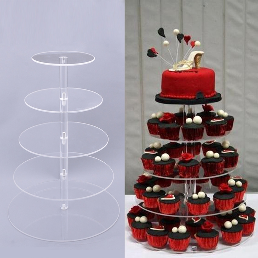 5 Tier Round Crystal Clear Acrylic Cupcake Tower Stand Wedding