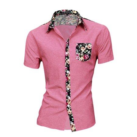 Unique Bargains - Unique Bargains Men's Button Up Floral Prints Splicing  Design Shirt Light - Walmart com
