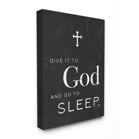 The Stupell Home Decor Collection Give it to God' Cross Black and White Typography Stretched Canvas Wall Art, 16 x 1.5 x 20 Plastic Canvas Cross