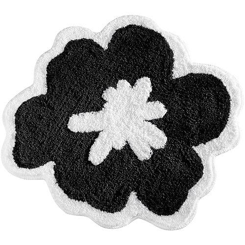 InterDesign Fiore Black and White Bathroom Rug