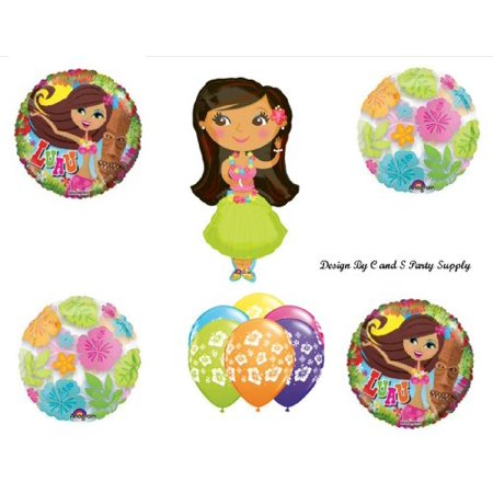 HULA GIRL LUAU TROPICAL BEACH Happy Birthday PARTY Balloons Decorations Supplies