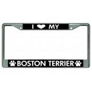 I Love My Boston Terrier Chrome License Plate Frame