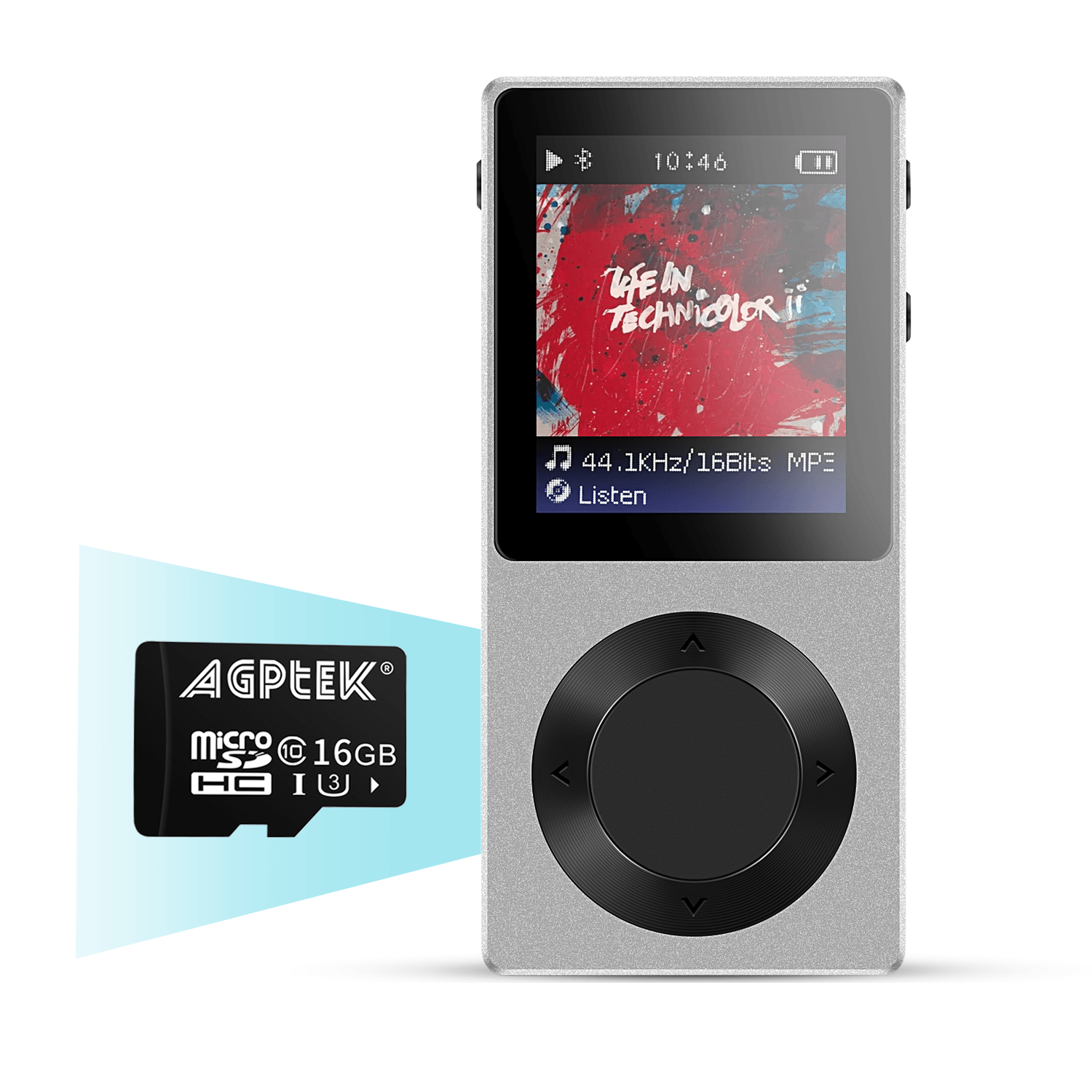 AGPTEK ROCKER Bluetooth 4.0 MP3 Player with 16GB SD card, Lossless Music Player for Audiophile(up to 256GB), Sliver