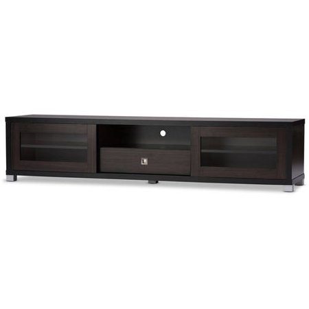 Baxton Studio Beasley 70-Inch Dark Brown TV Cabinet with 2 Sliding Doors and