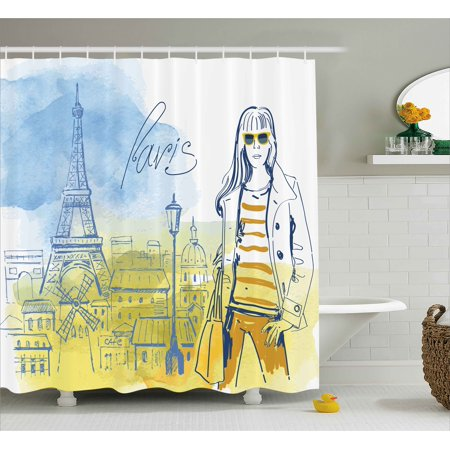 Paris Shower Curtain Theme Eiffel Tower And Hand Drawn Vintage Picture Of Stylish Girl