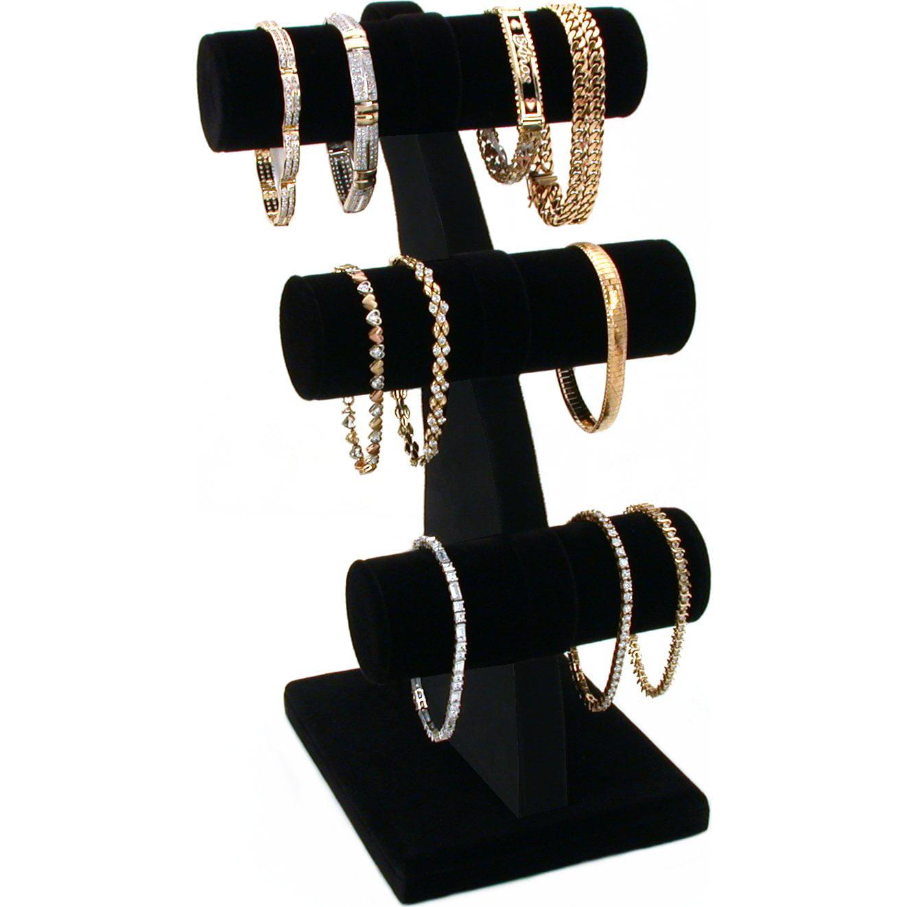 "Black Velvet 3 Tier T-Bar Bracelet Jewelry Display 11"""