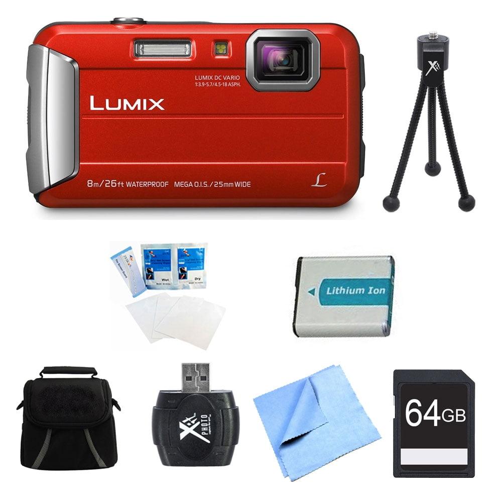 Panasonic LUMIX DMC-TS30 Active Tough Red Digital Camera 64GB Bundle - Includes Camera, 64GB Card, Compact Bag, Battery, Card Reader, Mini Tripod, Screen Protectors, and Micro Fiber Cloth