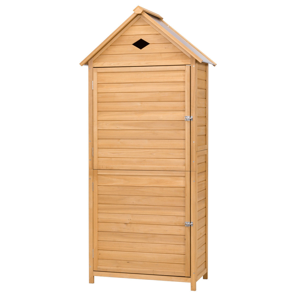 Gymax Wooden Outdoor Garden Storage Shed Storage Hutch Arrow Shed with Single Door
