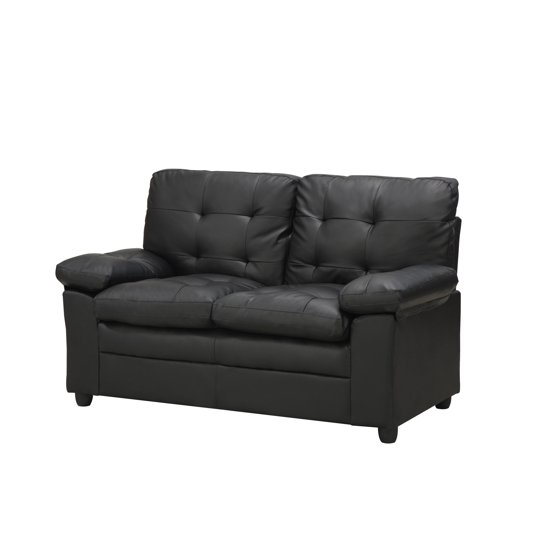 Cool Mainstays Buchannan Faux Leather Loveseat Black Gmtry Best Dining Table And Chair Ideas Images Gmtryco