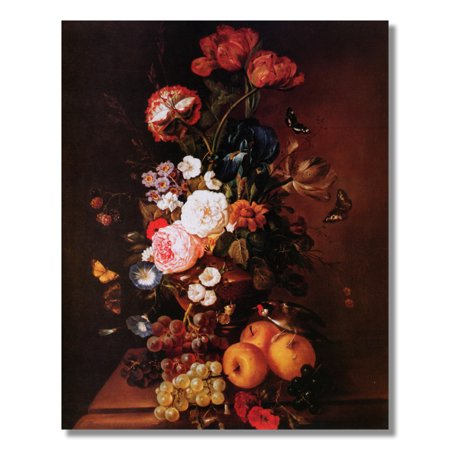 - Museum Style Floral Arrangement Flowers and Fruit Wall Picture 8x10 Art Print