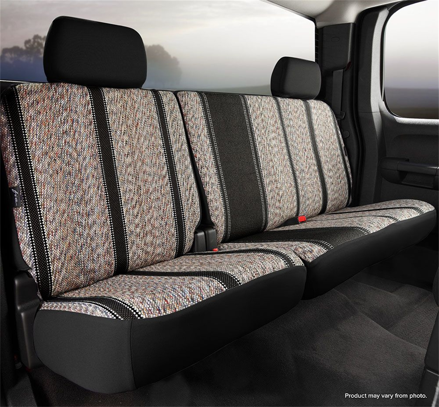 Coverking Custom-Fit Front Bench Seat Cover Dark Blue Tweed