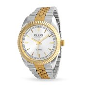 Two Tone Classic Executive Wrist Bracelet Watch For Men White Round Dial Gold Silver Tone Link Band Stainless Steel